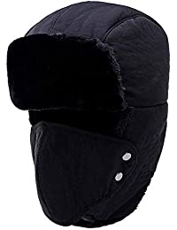 Yooeen Unisex Warm Winter Trapper Trooper Hat Mens Classic Winter Faux Fur  Bomber Hats with Ear Flap and Windproof Mask Snow Ski… 8649aa5bb354
