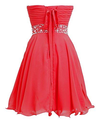 FAIRY COUPLE Chiffion Herz Form Ausschnitt mit Kristall Empire Cocktail Party Kleid D0263 Rot