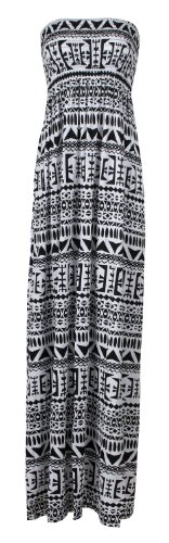 Fast Fashion Damen Viskose Jersey Streifen Tribal drucken Boobtube Gummizug Maxi Kleid (40/42, Tribal Black/White) (Tribal Top Print)