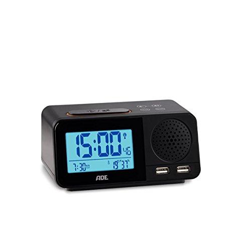 ADE CK1709 Digitaler Radiowecker mit Funkuhr, 2 Weckzeiten, Snooze, LCD-Display, Thermometer, Hygrometer, UKW Radio und Kalender schwarz