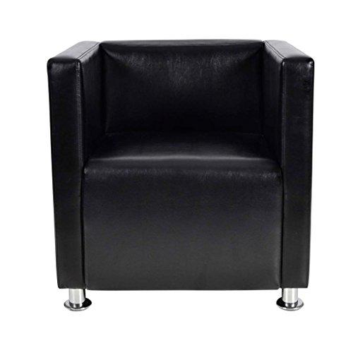 vidaXL Fauteuil Design de Cube Cuir Synthétique Noir Chaise Sofa Salon Maison