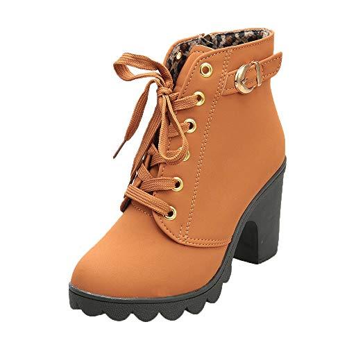 Brogues Damen Blockabsatz Leder Schnürhalbschuhe Low Top Lederschuhe Oxford 6cm Absatz Schuhe Elegante Vintage Schwarz Braun Beige Gr.34-43