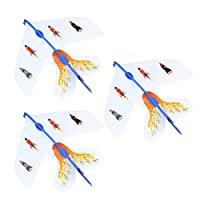 Toyvian 4pcs Airplane launcher led light arrow rocket glider plane party flying toy fun (random sticker)