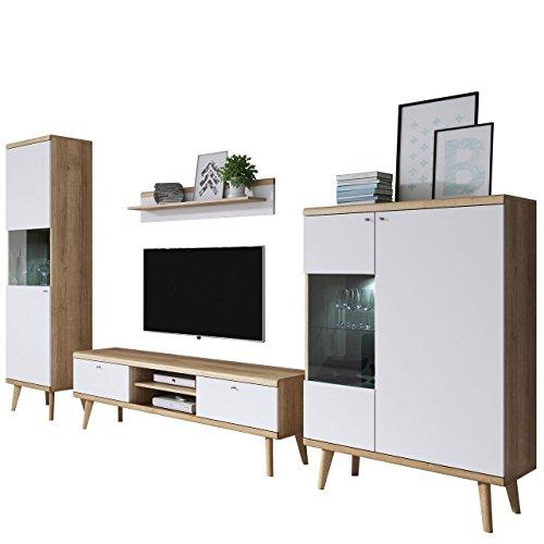 Wohnzimmer Primo II, Elegantes Wohnzimmer-set im skandinavischen Stil, TV Lowboard, zwei Vitrine, Wandregal, Komplett (ohne Beleuchtung, Riviera Eiche / Weiß)
