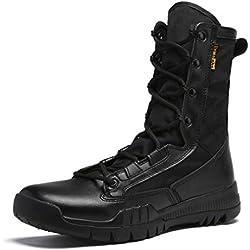 YAN Botas Altas de Hombre 2018 Otoño Botines de Combate de ejército de Tobillo Causal Al Aire Libre con Cordones Botas de Punta Redonda Negro/Marrón (Color : Negro, tamaño : 45)