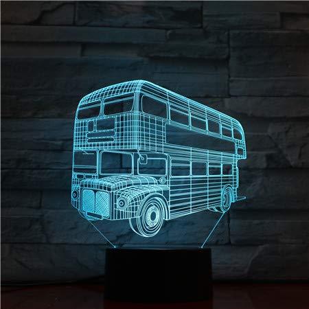 3d Nachtlicht Lampe,London Doppeldecker Fahrzeug 3D Hologramm Lampe Illusion Nachtlicht Für Kinder Kind Schlafzimmer Dekor Nachtlicht Led Glühbirne