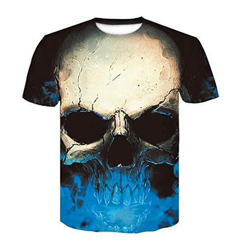Shirt Männer Bluse Männer 3D Flood Printed Kurzarm Fashion Trend Slogan,3D Halloween Print Schädel Blau 3XL ()