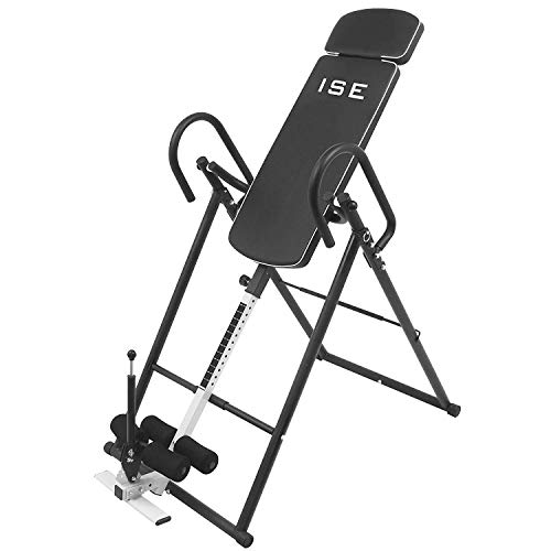 ISE Inversionsbank mit 6 Inversionswinkel klappbarer Schwerkrafttrainer Inversion Table Rücktrainer verstellbar 0-180°Nutzergewicht bis 135 kg,Köpergröße 155-198cm,Sicherheit geprüft (Schwarz)