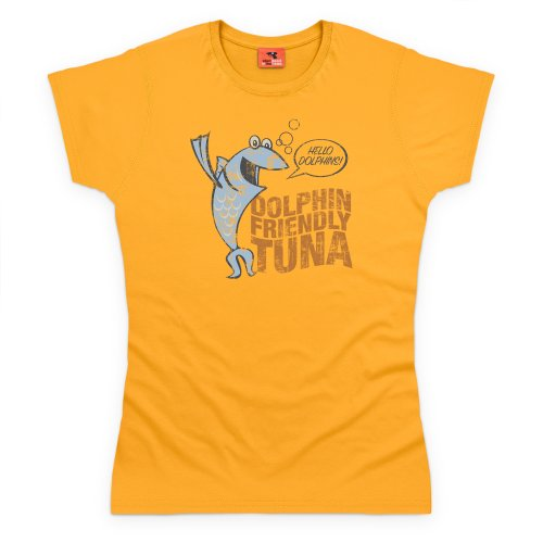General Tee Dolphin Friendly Tuna T-Shirt, Damen Gelb