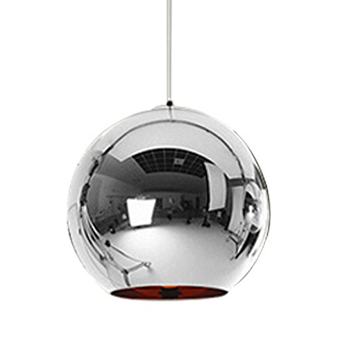 Huahan Haituo Hängeleuchte mit modernem Lampenschirm, Kupfer, verspiegelt, Kugel aus Chrom, mit Kabel von 120 cm, Durchmesser 15 cm, 20 cm oder 25 cm, E27, 40-100 watts (Silber, 25cm)