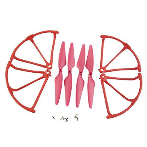 Fytoo elica e Struttura della lama proteggi elica per Hubsan X4 H502S H502E H502T H507A RC Quadcopter Drone H502S Parti Le lame principali Elica di ricambio + Propulsore Protector - rosso