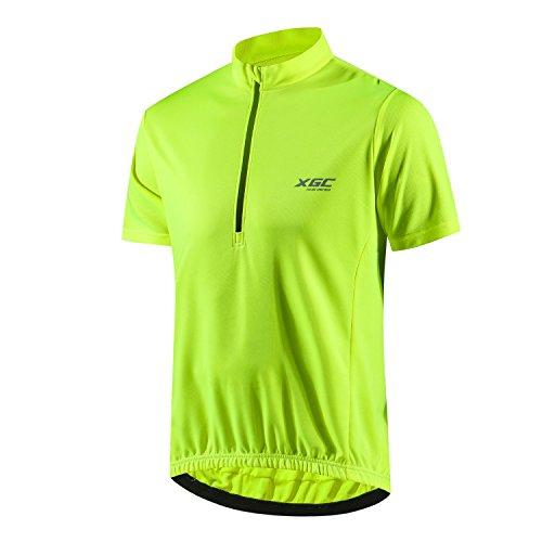 Herren Kurzarm Radtrikot Fahrradtrikot Fahrradbekleidung für Männer mit Elastische Atmungsaktive Schnell Trocknen Stoff 1-2er Packung (Yellow, XL)