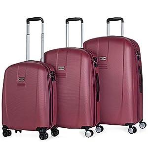 JASLEN – Juego de Maletas de Viaje Rígidas 4 Ruedas Trolley ABS. Duras Cómodas y Ligeras. Candado TSA. 3 Tamaños: Pequeña Mediana y Grande Diseño. 56500, Color Vino