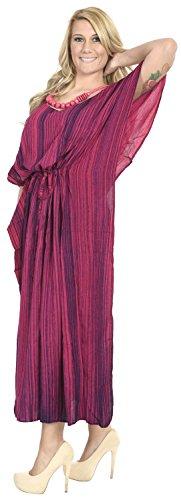 La Leela Frauen verschleiern tie dye Bademode Badebekleidung Rayon Nachtzeug Kaftan Multi Kleid Rosa