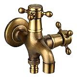 Huaqiang Grifo de Agua Faucet Antique 2 in 1 Faucet European Retro Copper Tap Double Spout 2 Way Garden Splitter para Lavar la Colada Lavadero de Cocina Ducha