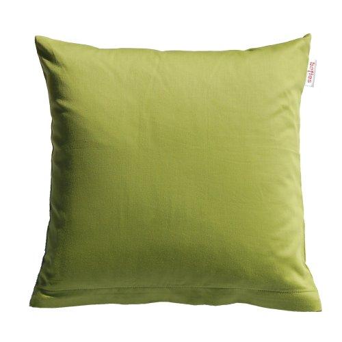 Paket mit 2 x beties Mako Satin Kissenbezug ca. 40x40 cm 100% Baumwolle hochwertig & angenehm in 9 interessanten Uni Farben (lind-grün)