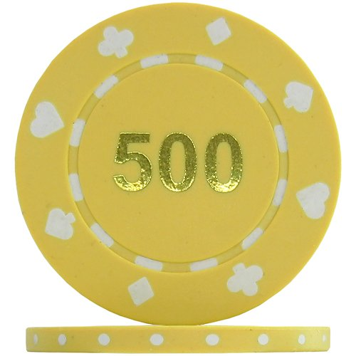Suited Numbered Poker Chips - Yellow 500  Roll of 25