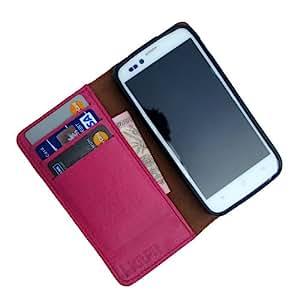 i-KitPit - Genuine Leather Wallet Flip Case Cover For Nokia Lumia 920 (PINK)