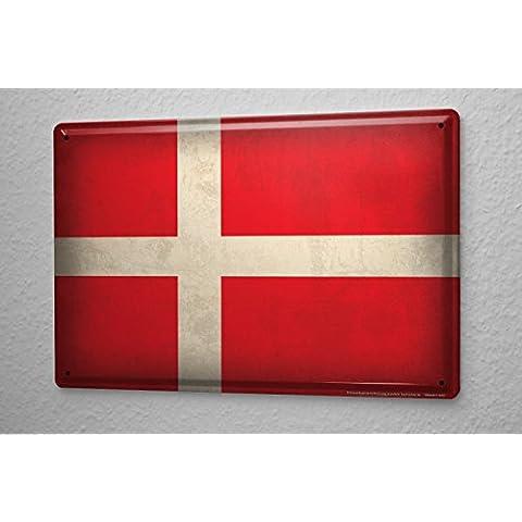Cartello Targa In Metallo Tin Viaggio Mondo bandiera Danimarca Piastra Decorativa 20X30 cm