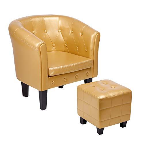 CCLIFE Chesterfield Sessel Loungesessel mit Hocker Clubsessel Cocktailsessel Ledersessel Braun/Gold, Farbe:Gold + Hocker