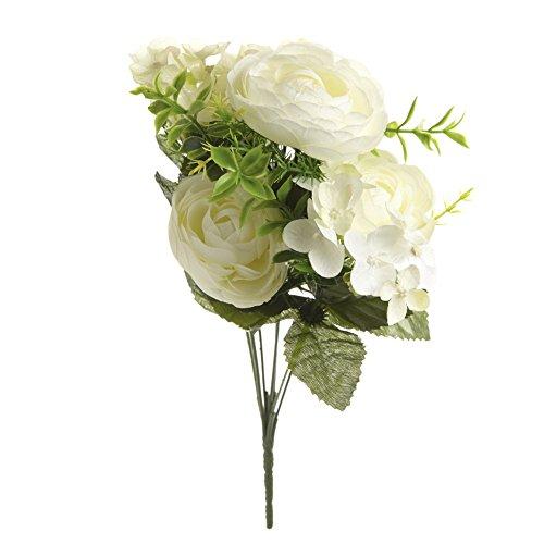 Geraffte Seide Pullover (Heaven Sends Blumenstrauß, künstlich (35 x 20 x 15 cm) (Weiß))