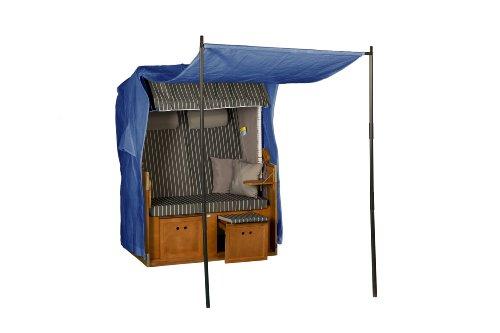 Abdeckhaube für Strandkorb, blau, mit Vordach und Zeltstange, LILIMO ® (Zubehör Vordach)