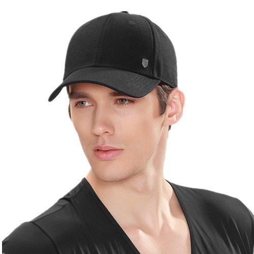 Kenmont été Unisexe Homme 100% coton de couleur pleine visière Casquette de baseball Cap (L-23.43inches, noir)