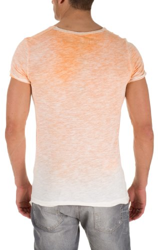 Sublevel Slub Yarn Sprayed Herren T-Shirt Grau special orange