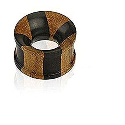 2A (6 mm) Jati & Areng Ebenholz natürliche organische Gestreifte Concave Hohl Ohr-Stecker-Tunnel Piercing Sattel edelsten (Kostüme Gestreifte Tiger)