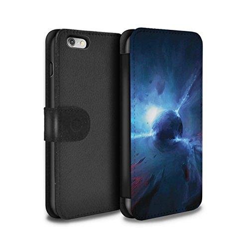 Offiziell Chris Cold PU-Leder Hülle/Case/Tasche/Cover für Apple iPhone 6S / Schwarzes Loch Muster / Galaktische Welt Kollektion Pulsar/Neutron Stern