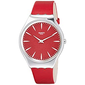 Swatch Unisex Adult Analogue Quartz Watch with Leather Strap SYXS119