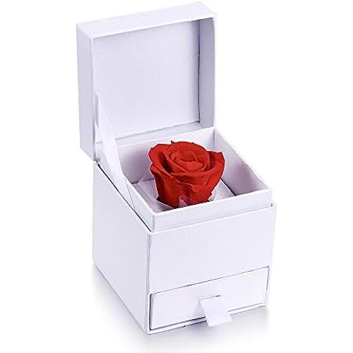 MARENJA-Regalo San Valentín Cajita de Joyero con Rosa Preservada Eterna de Collar Pendientes Juego de Joyas