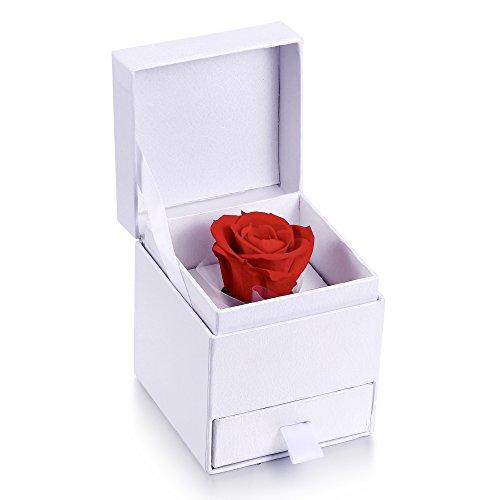 MARENJA-Weihnachtsgeschenke Schmuckkästen Schmuckbox weiß mit Konservierte Rose
