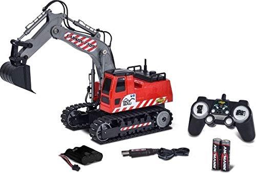 Carson 500907309 500907309-1:26 RC Raupenbagger 2.4G 100% RTR, Ferngesteuertes Fahrzeug, Baufahrzeug mit Funktionen, inkl. Batterien und 2,4 Ghz Fernsteuerung, rot