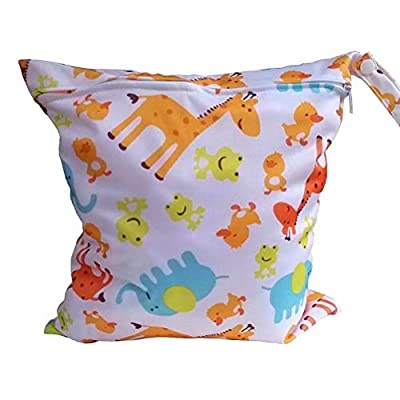 2-Zip Washable Baby Cloth Diaper Nappy Bag Elephant Pattern