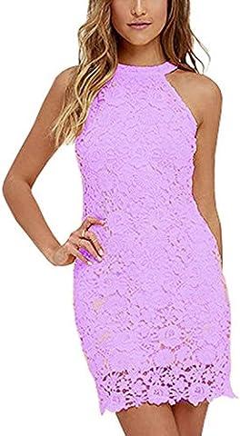 Damen Sommerkleid Vintage Ärmellos Spitzenkleid Ballkleid cocktailkleid Retro Rockabilly Festlich Partykleid 6 Farbe Violett-XXL