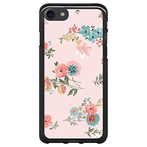 BJJ SHOP Schwarz Hülle für [ iPhone 7 / iPhone 8 ], Klar Flexible Silikonhülle, Design: Aquarell blüht mehrfarbigen rosa Hintergrund