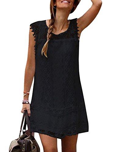 Yoins donna abito in pizzo estivo abiti vestito ampio vestiti elegante vestitino girocollo abito spiaggia nero eu44