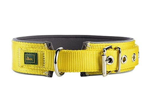 HUNTER NEOPREN REFLECT Halsband für Hunde, Nyon, Neopren gepolstert, reflektierend, 50, gelb/grau -