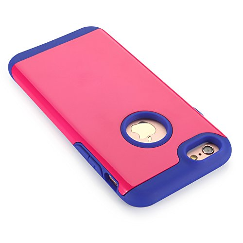 Coque iPhone 6/6s Plus, Pasonomi® [Slim Fit] [Dual Layer] Housse Étui Hybride Couche 2 Lourde en PC + Silicone dur Coque pour Apple iPhone 6s Plus / iPhone 6 Plus 5.5 Pouce (iPhone 6/6s Plus, Bleu) Rose