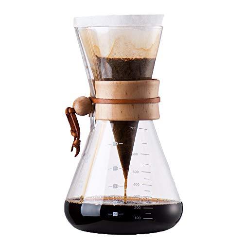 BILLY'S HOME Pour Over Coffee Maker, Coffee Sharing Topf, Pine Wood Handle High Borosilicate Glas, Einfache Flow-Rate-Stabilität geeignet für zu Hause und Office verwenden 700ml