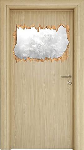 Romantische Blumenwiese Kohle Zeichnung Effekt Holzdurchbruch im 3D-Look , Wand- oder Türaufkleber Format: 62x42cm, Wandsticker, Wandtattoo, Wanddekoration