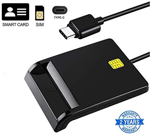 CAC-Chipkartenleser, USB-C-DOD-Kartenleser mit gemeinsamem Zugriff, kompatibel mit Windows (32/64-Bit) XP/Vista / 7/8/10, Mac OS X/IC-Bankkartenleser