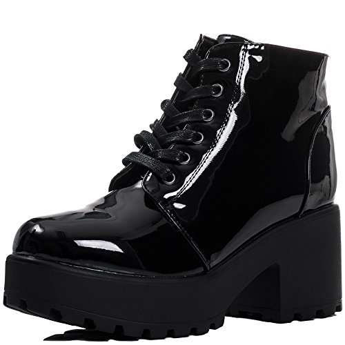Lace Up Cleated Sole Platform Block Heel Ankle Boots Shoes Black Suede Style Sz 4 -