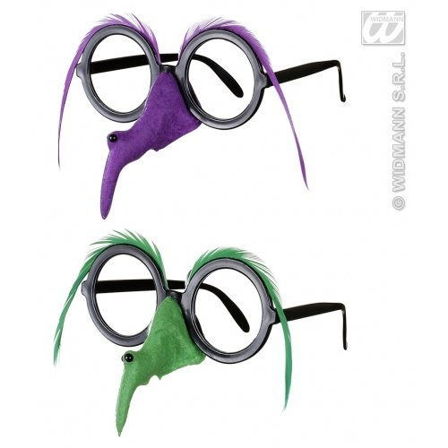 WIDMANN Damen Brille mit Hexe Nase Feder Augenbraue - 2 Farben Ass Zubehör für Halloween-Kostüm