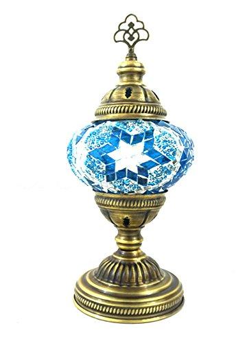 Handgefertigte Orientalisch Türkisch Asiatisch Mosaik Tisch Lampe Innenleuchte Nachttischlampe Beistelllampe Handarbeit Mosaik Glas Tischlampe Glasgröße 2 (Blau-Silber)