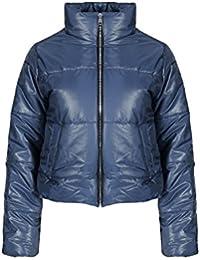 FLIRTY WARDROBE Womens Wet Look Cropped Jackets Coat Ladies Padded Bomber Bubble Puffer Short UK