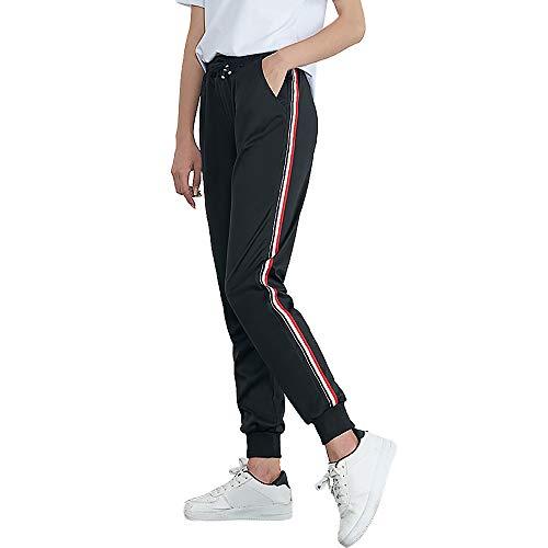 SuperSU Frauen Mid-Waist Casual Striped Print Sporthosen Pluderhosen Jogger Pants Damen Hose Easy Sport Pant Stretch Skinny Hosen Pants Casual Streetwear Hosen mit Tunnelzug Streifen Sweathose