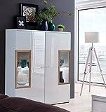 lifestyle4living Highboard mit Fronten in weiß Hochglanz, Kommode mit viel Stauraum hinter 2 Türen