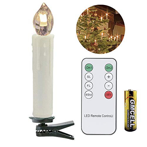 VINGO 10er LED Weihnachtskerzen LED Kerzen mit Batterien Weihnachtsbeleuchtung Warmweiß Baumkerzen Innen und Außen für Weihnachtsbaum Fernbedienung Kabellos Dimmbar Weihnachtsdeko